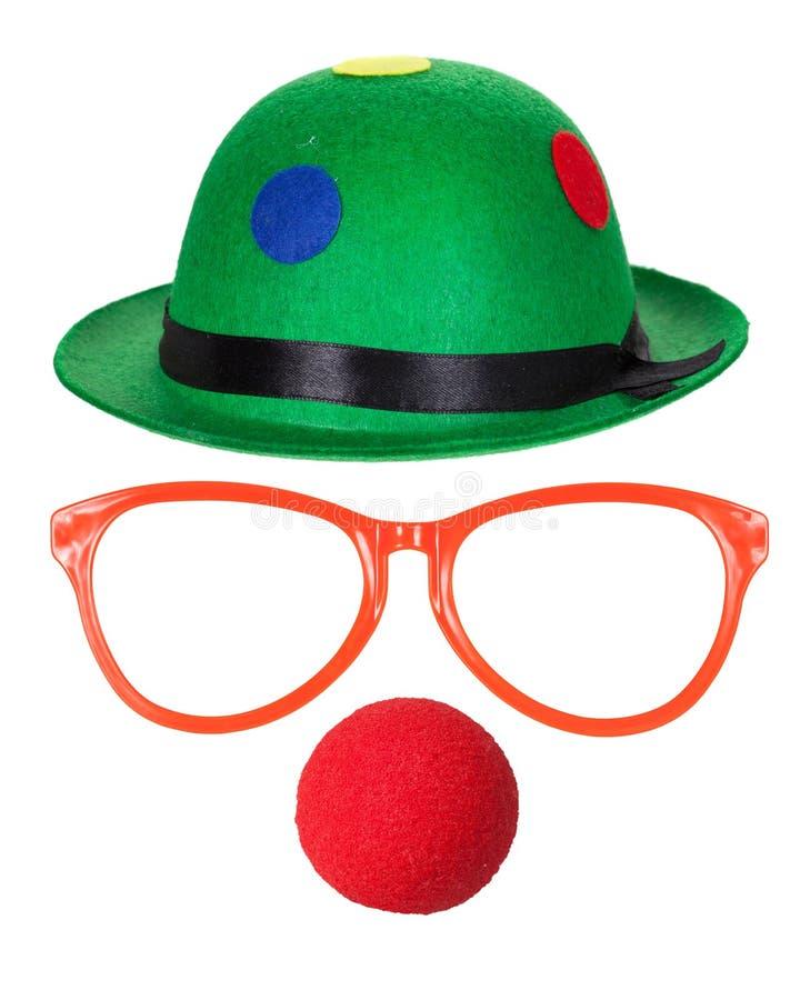 De hoed van de clown met glazen en rode neus royalty-vrije stock foto
