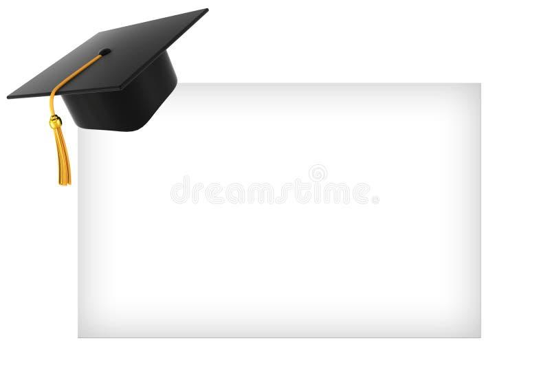 De hoed van de graduatie op witte achtergrond stock illustratie