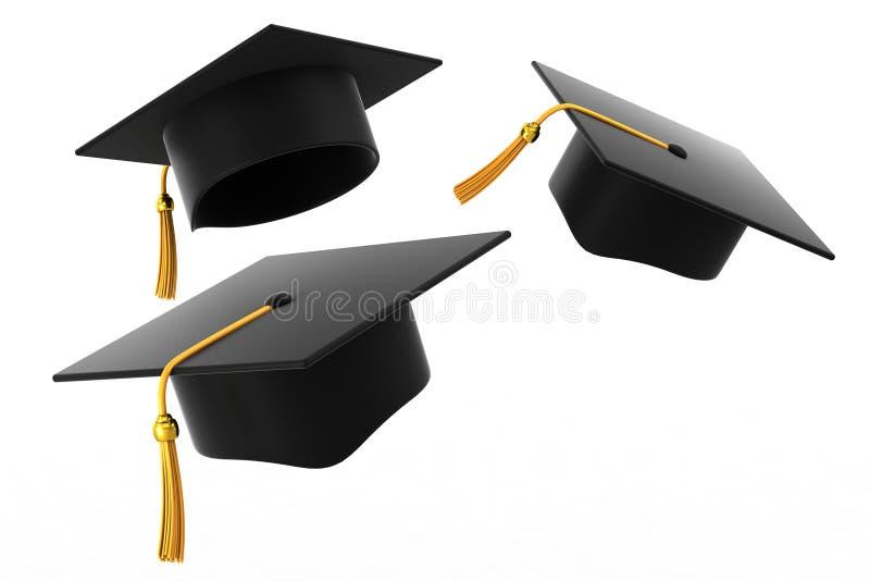 De hoed van de graduatie op witte achtergrond royalty-vrije illustratie