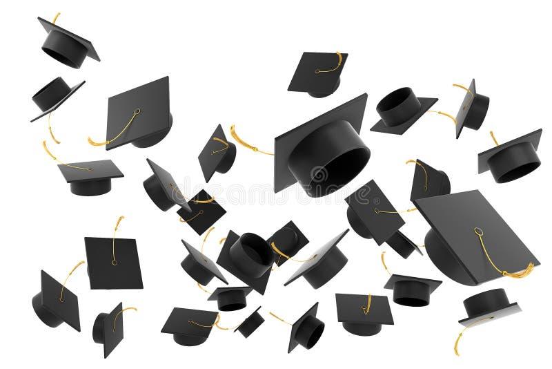 De hoed van de graduatie op witte achtergrond vector illustratie