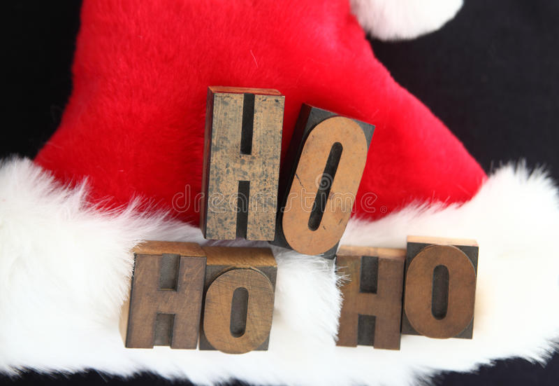 De hoed van de kerstman ho ho ho royalty-vrije stock foto's
