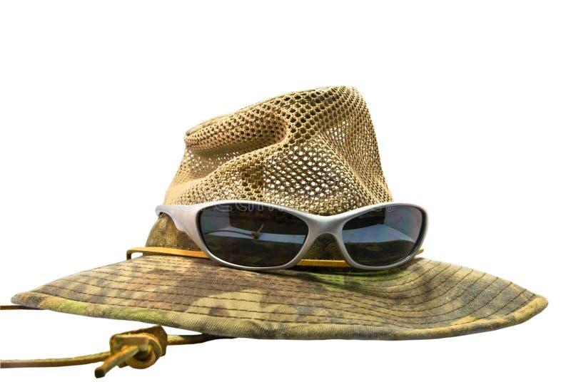 De Hoed van de zomer met Zonnebril stock afbeeldingen