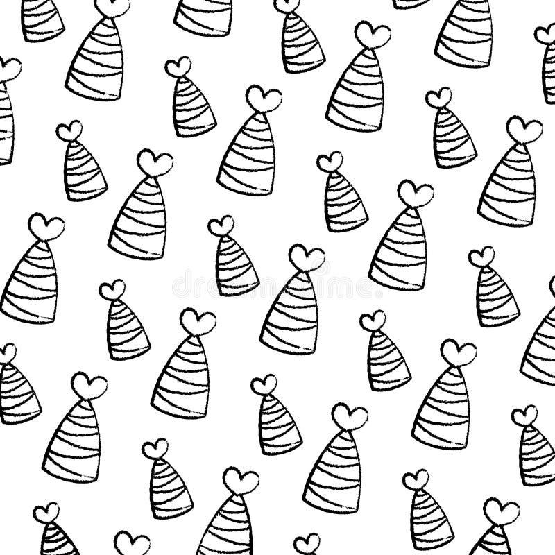 De hoed van de Grungepartij met lijnen en de achtergrond van de hartdecoratie stock illustratie
