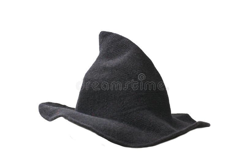 De hoed van de heksenwol op witte achtergrond wordt geïsoleerd die Halooweendoek stock foto's
