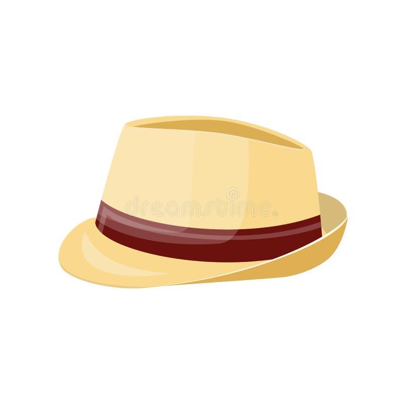 De hoed van het mensenstro Stro sunhat op wit wordt geïsoleerd dat royalty-vrije illustratie