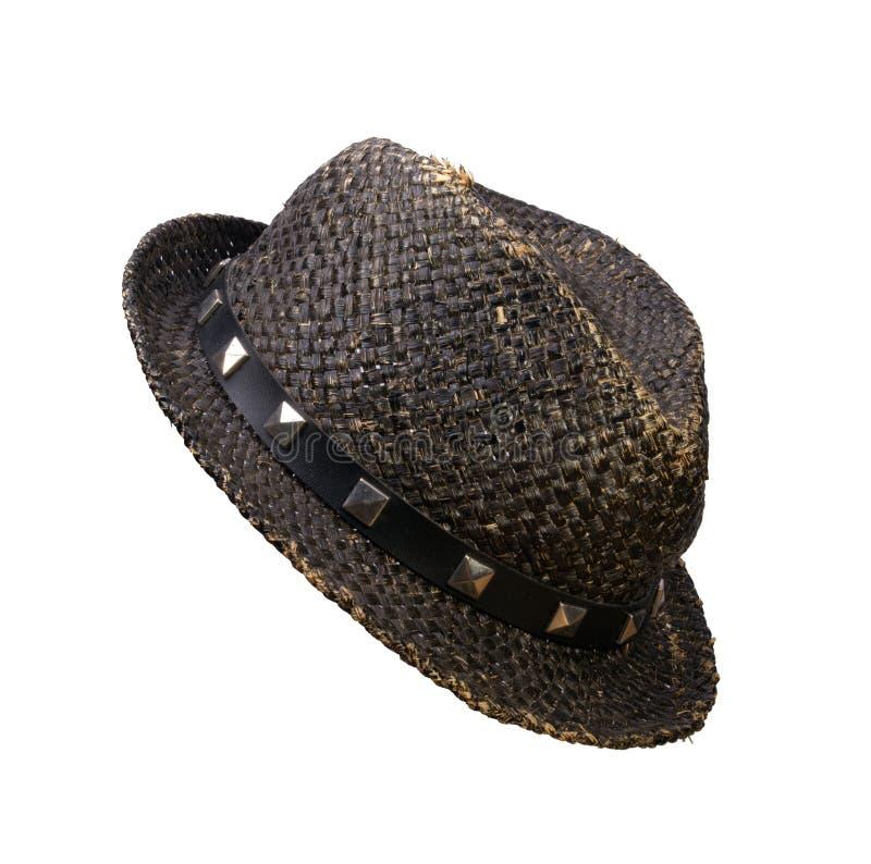 De hoed van het stro, die op een witte achtergrond wordt geïsoleerdh royalty-vrije stock foto's