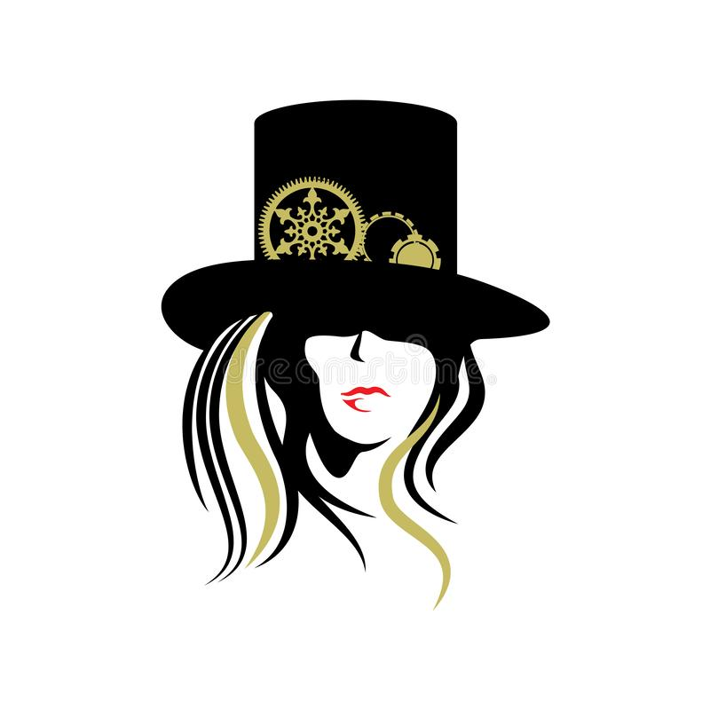 De hoed van Steampunkvrouwen vector illustratie