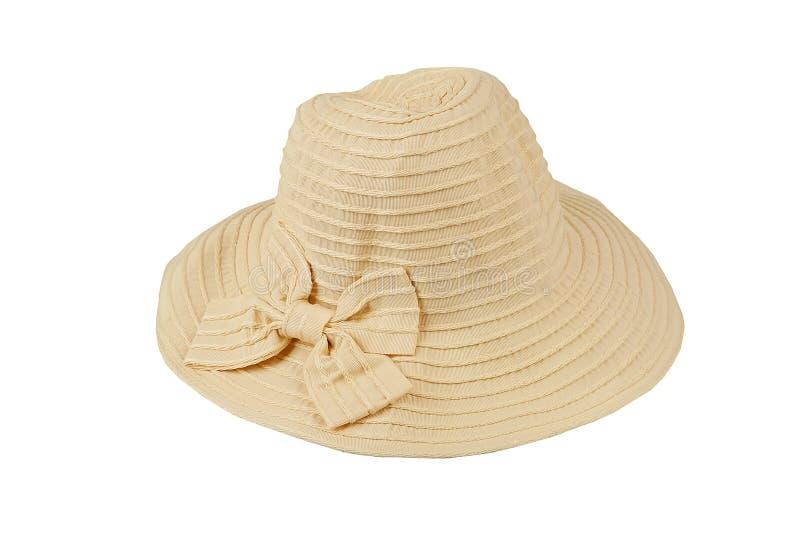De hoed van vrouwen op een wit geïsoleerde achtergrond stock afbeelding