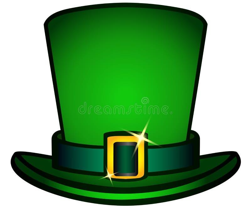 De hoed is zwarte hoge zijden met een riem en een gouden gesp Kabouterhoed vector illustratie