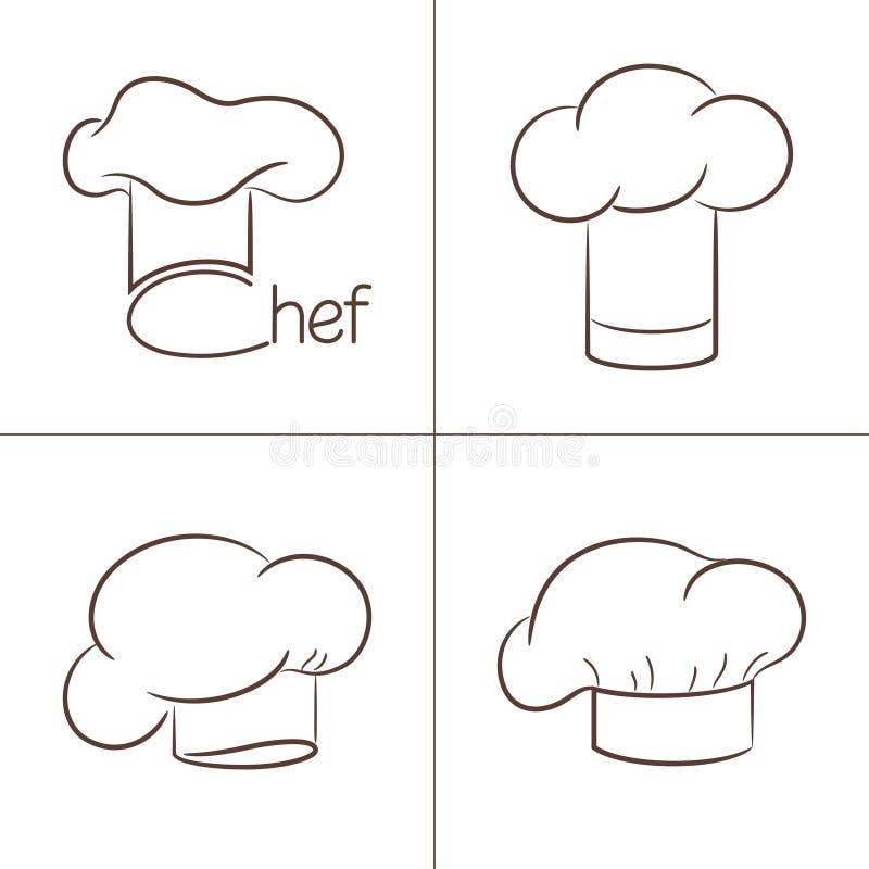 De hoeden van de chef-kok stock illustratie