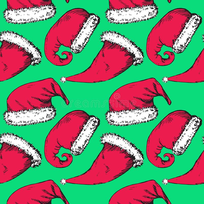 De hoeden van de Kerstmiskerstman op turkooise achtergrond stock illustratie