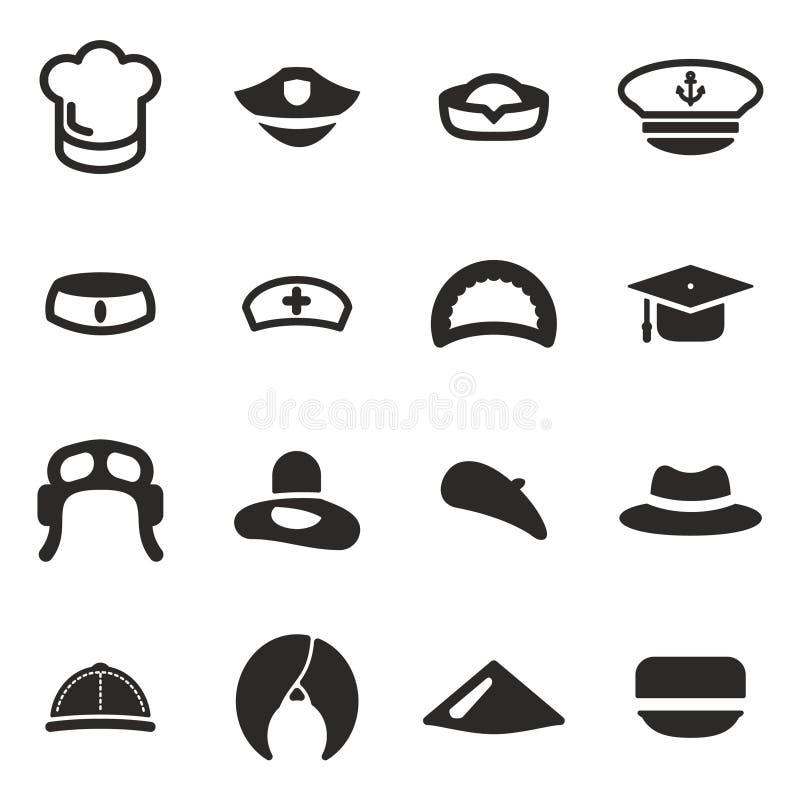 De hoedenpictogrammen plaatsen 1 vector illustratie