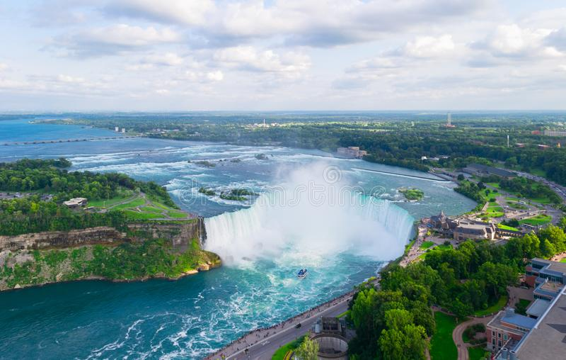 De hoef valt luchtmening Niagara Falls Canada, de V.S. stock foto