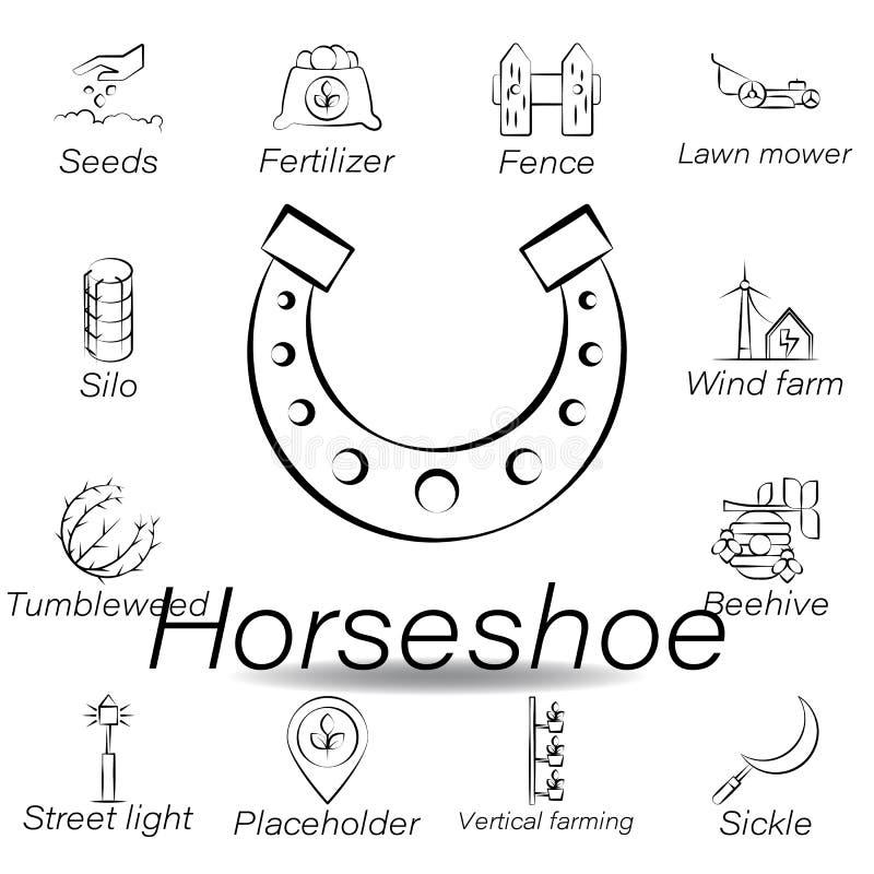 De hoefijzerhand trekt pictogram Element van de landbouw van illustratiepictogrammen De tekens en de symbolen kunnen voor Web, em vector illustratie