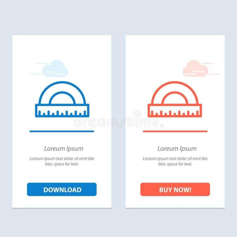 De hoek, de Bouw, de Maatregel, de Heerser, de Schaal Blauwe en Rode Download en kopen nu de Kaartmalplaatje van Webwidget royalty-vrije illustratie