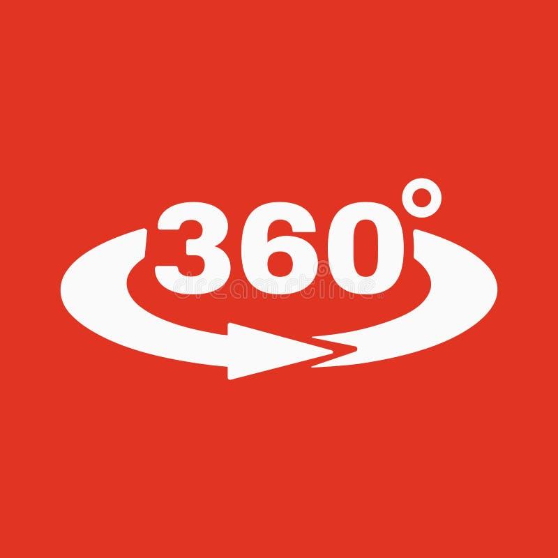 De Hoek 360 graden pictogram Omwentelingssymbool vlak royalty-vrije illustratie