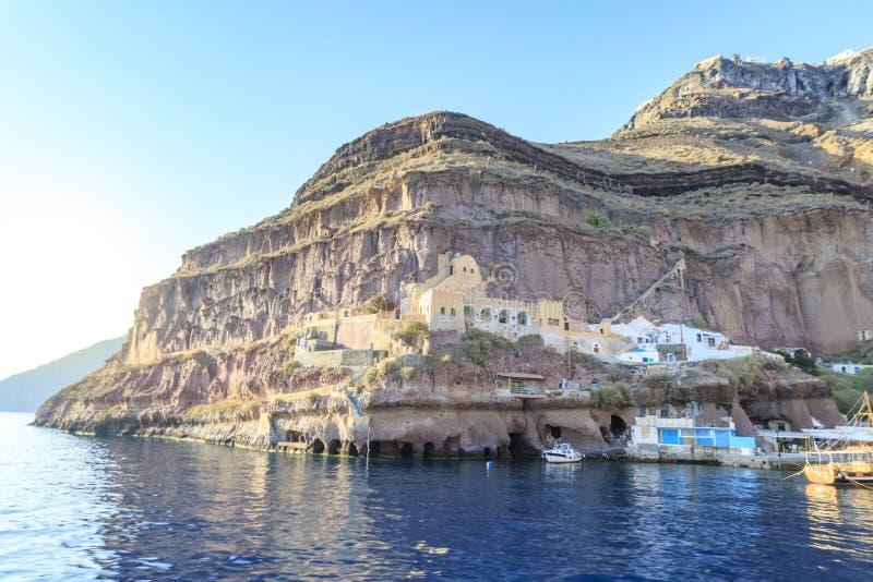 De hoek van de Firahaven in Fira-stad, Santorini-eiland, Griekenland stock afbeeldingen