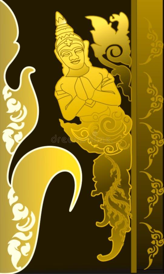 De Hoekgoud van het patroon Thais patroon royalty-vrije illustratie