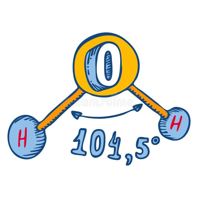 De hoekpictogram van de watermolecule, hand getrokken stijl royalty-vrije illustratie
