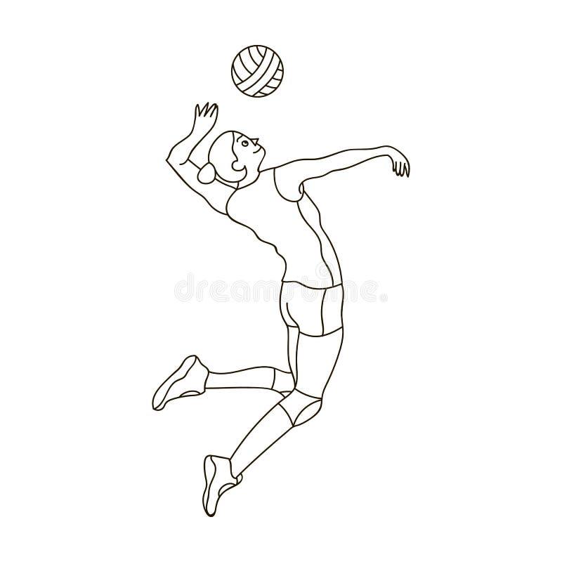 De hoge atleet speelt volleyball De speler werpt binnen de bal De olympische sporten kiezen pictogram in het vectorsymbool van de royalty-vrije illustratie