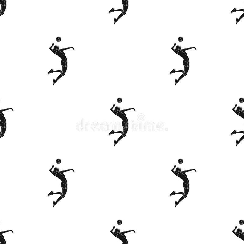 De hoge atleet speelt volleyball De speler werpt binnen de bal De olympische sporten kiezen pictogram in zwart stijl vectorsymboo vector illustratie