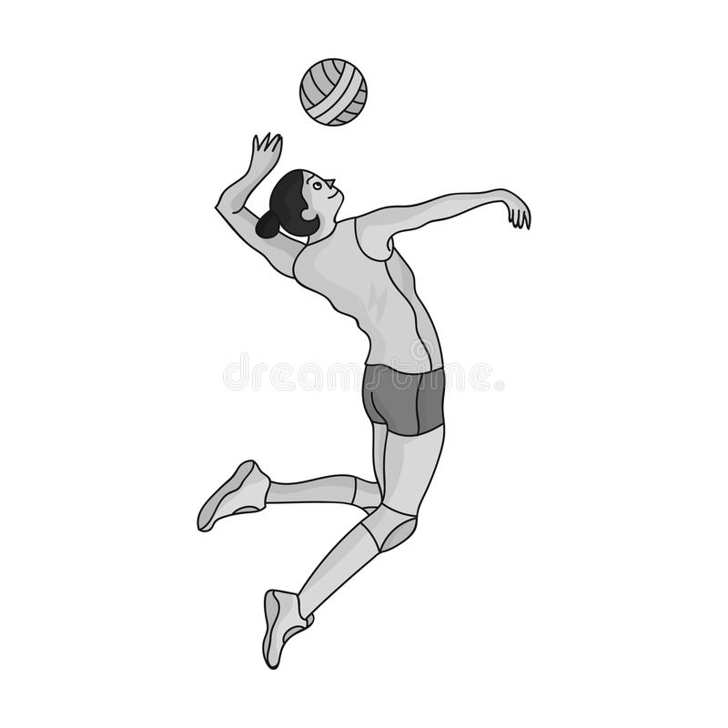 De hoge atleet speelt volleyball De speler werpt binnen de bal De olympische sporten kiezen pictogram in zwart-wit stijl vectorsy vector illustratie