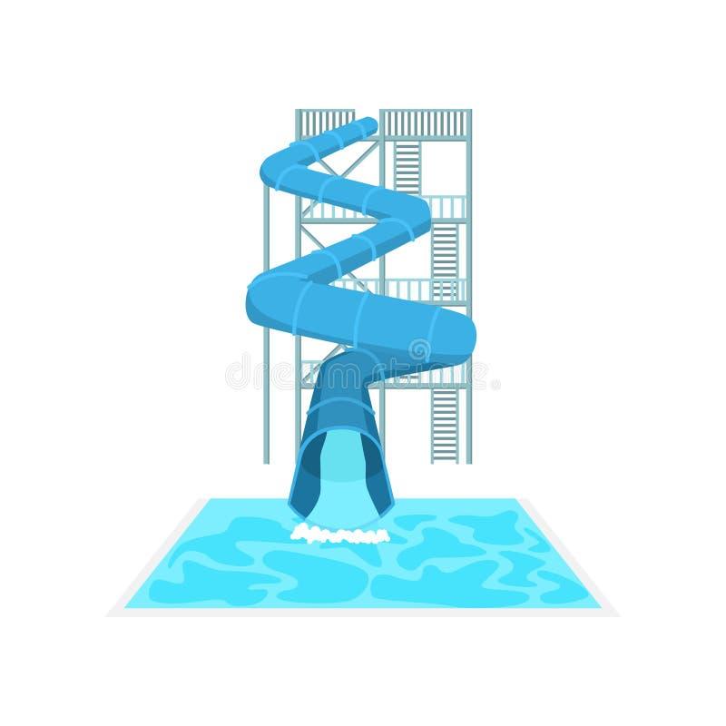 De hoge blauwe spiraalvormige plastic dia van het pijpwater in aquapark vector illustratie