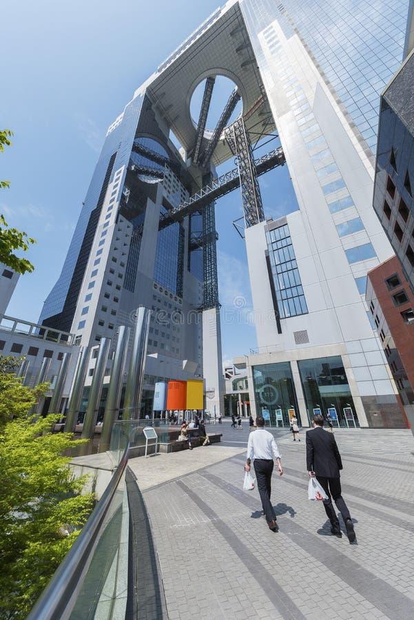 De hoge bouw van het stijgingsbureau in Osaka City, Japan royalty-vrije stock fotografie
