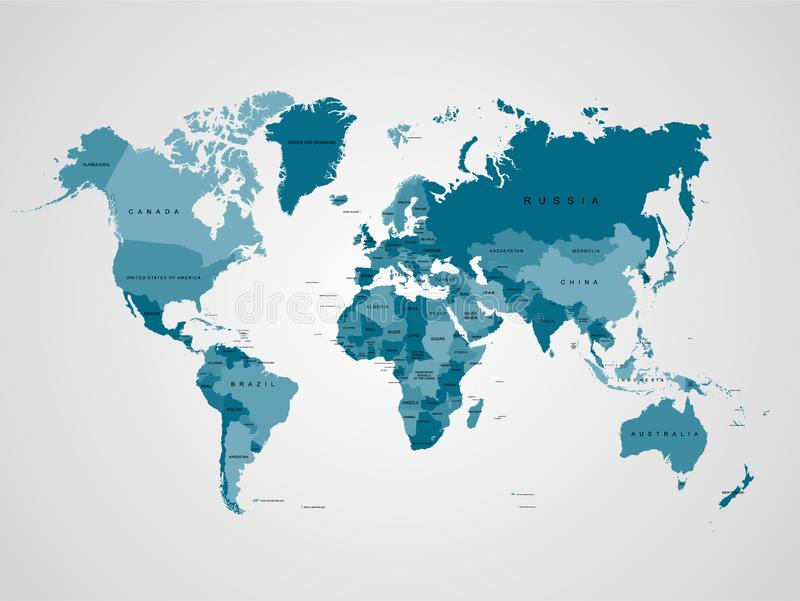 De hoge kaart van de Detailwereld malplaatje Vectorillustratie voor informatieonderwijs, nieuws, politieke, economische, sociale  royalty-vrije illustratie