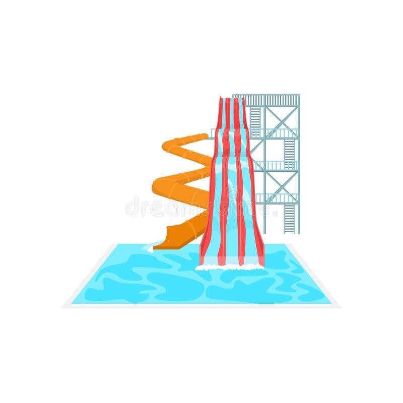 De hoge oranje spiraalvormige plastic dia van het pijpwater en rechte drievoudige afdaling in aquapark vector illustratie