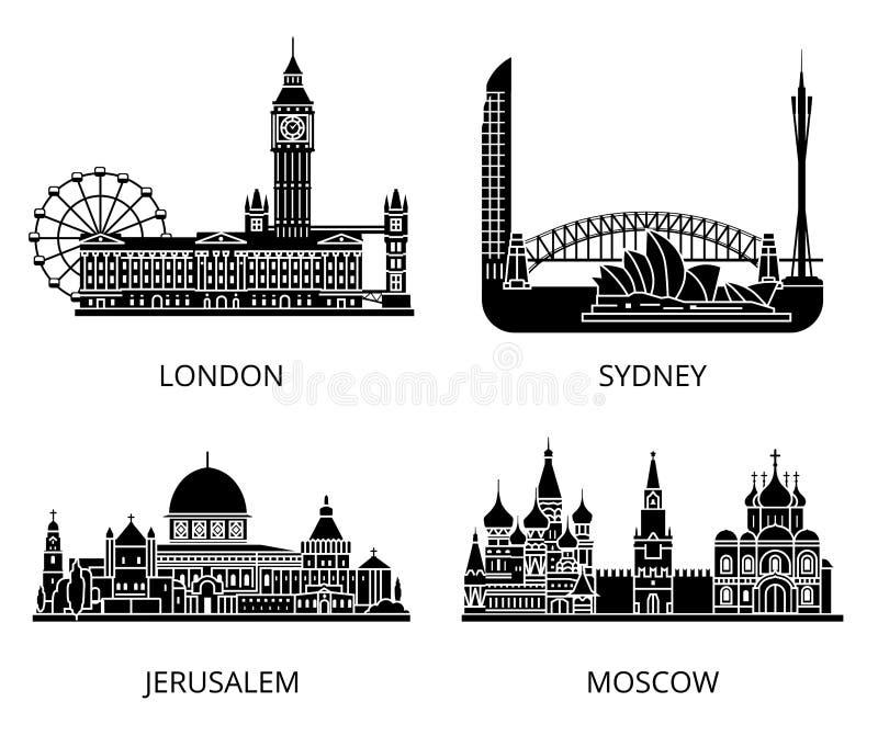De hoge reeks van de het silhouetstencil van detailoriëntatiepunten De steden die van wereldlanden inzameling bezienswaardigheden royalty-vrije illustratie