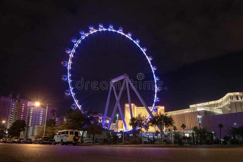 De Hoge Rol Ferris Wheel bij het Linq-Hotel en Casino bij nacht - Las Vegas, Nevada, de V.S. royalty-vrije stock foto's