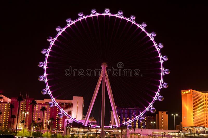 De Hoge Rol Ferris Wheel in Las Vegas, Nevada (nacht) stock afbeeldingen
