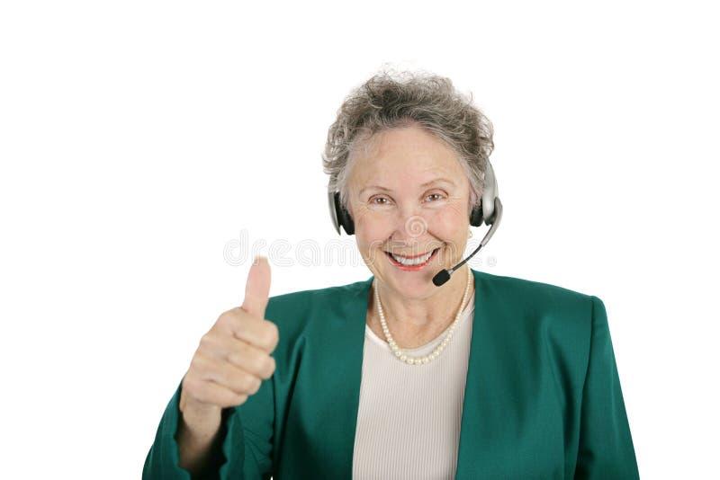 De hogere Arbeider van de Telefoon beduimelt omhoog royalty-vrije stock foto