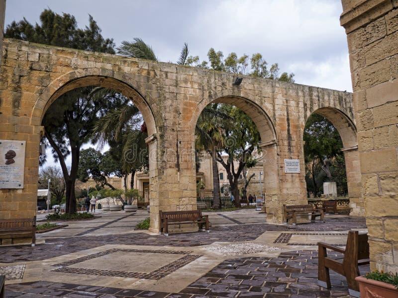 De Hogere Barrakka-Tuinen in Valletta Malta stock afbeelding
