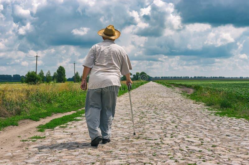 De hogere mens met wandelstok die strohoed dragen gaat op een keiweg naar huis stock foto