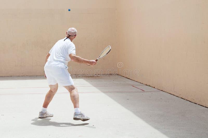 De hogere Speler van het Racketball royalty-vrije stock foto's