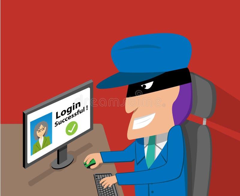 De hogere vrouw was binnendrongen in een beveiligd computersysteem rekening door hakker, vector royalty-vrije illustratie