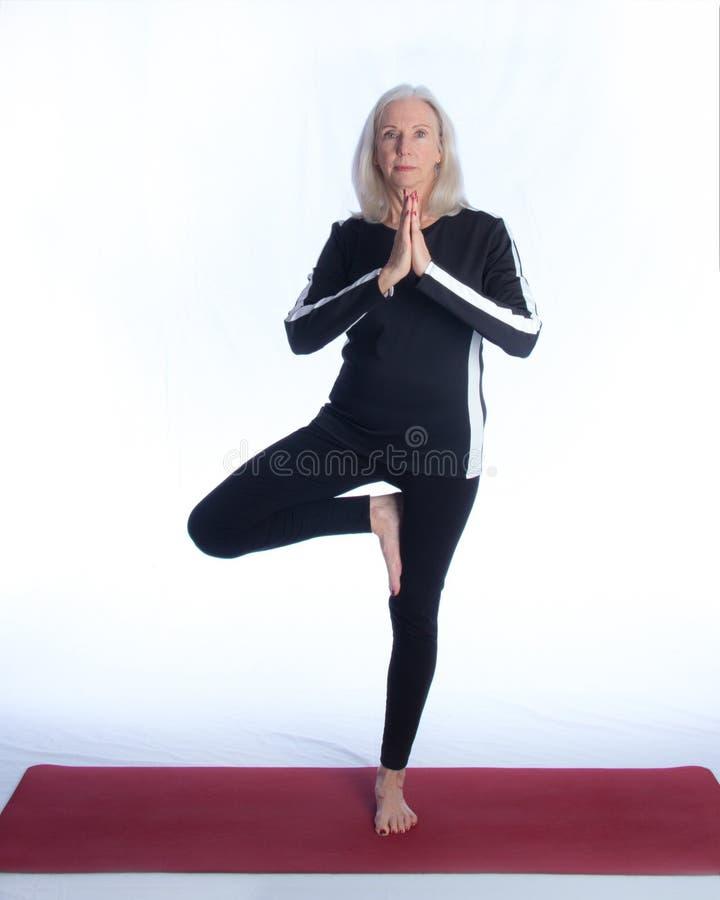 De hogere Vrouw in Yoga stelt stock afbeeldingen