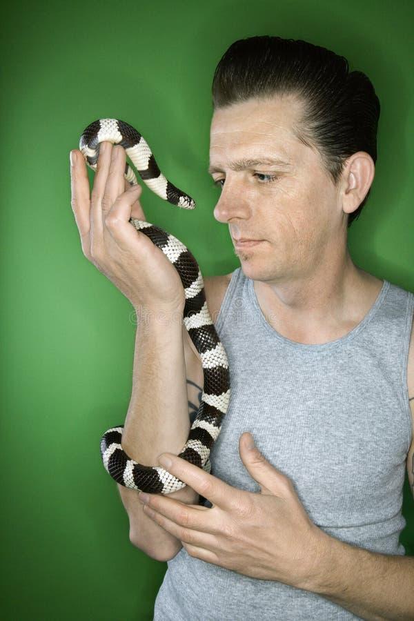 De holding Californië Kingsnake van de mens. stock foto