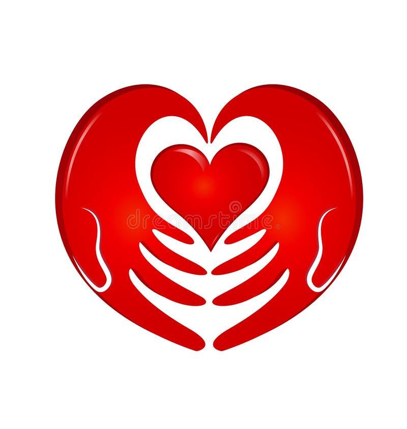 De holding overhandigt hartembleem stock illustratie