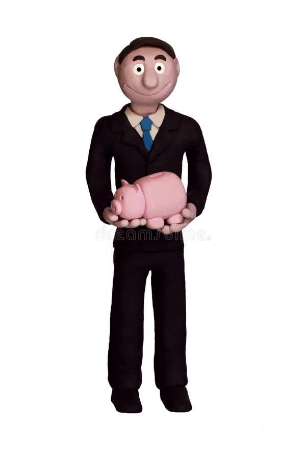 De Holding Piggybank van de zakenman royalty-vrije stock foto's