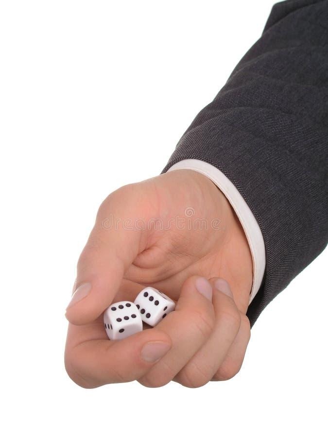 De Holding van de Hand van de zakenman dobbelt royalty-vrije stock foto