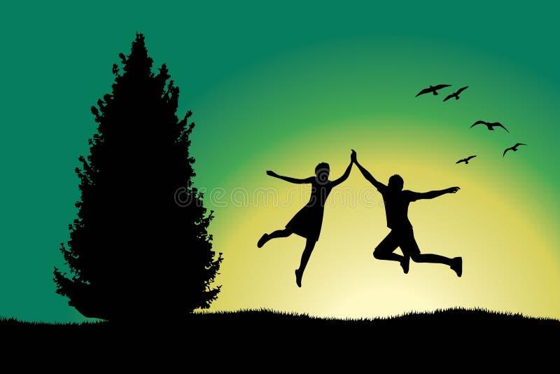 De holding van de mens en van het meisje voor handen en het springen royalty-vrije illustratie