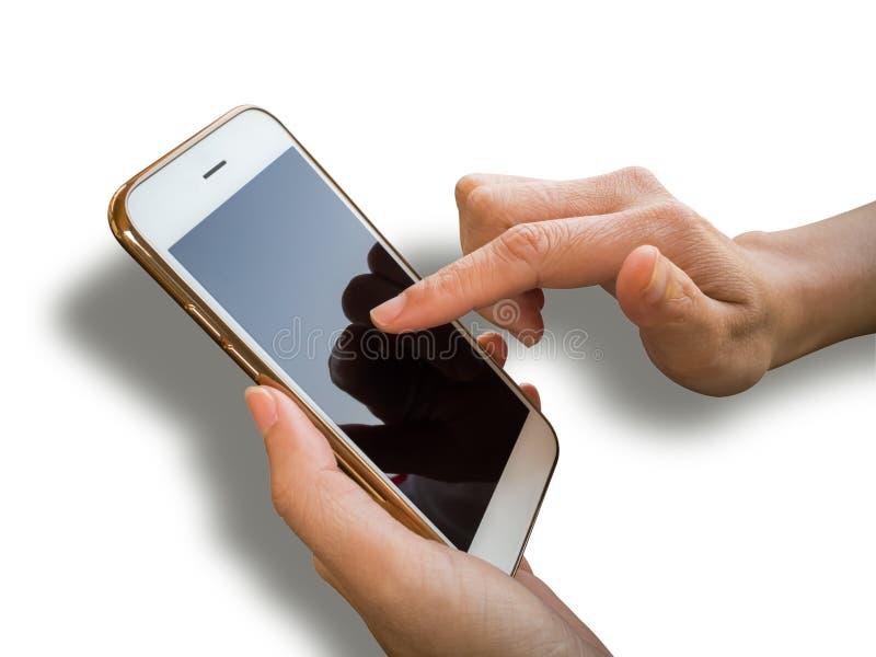 De holding van de twee handenpersoon en het gebruiken van smartphone royalty-vrije stock afbeeldingen
