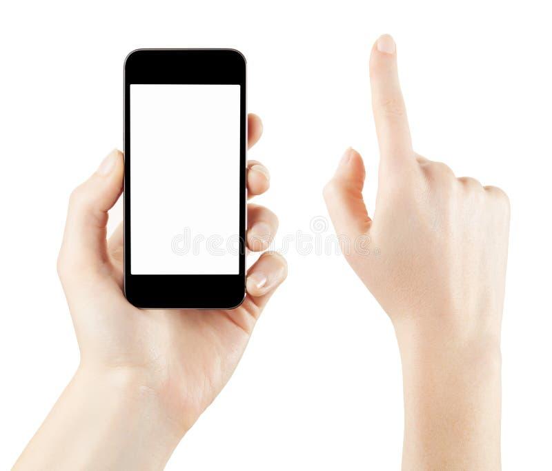 De holding van de vrouwenhand en wat betreft smartphone royalty-vrije stock afbeelding