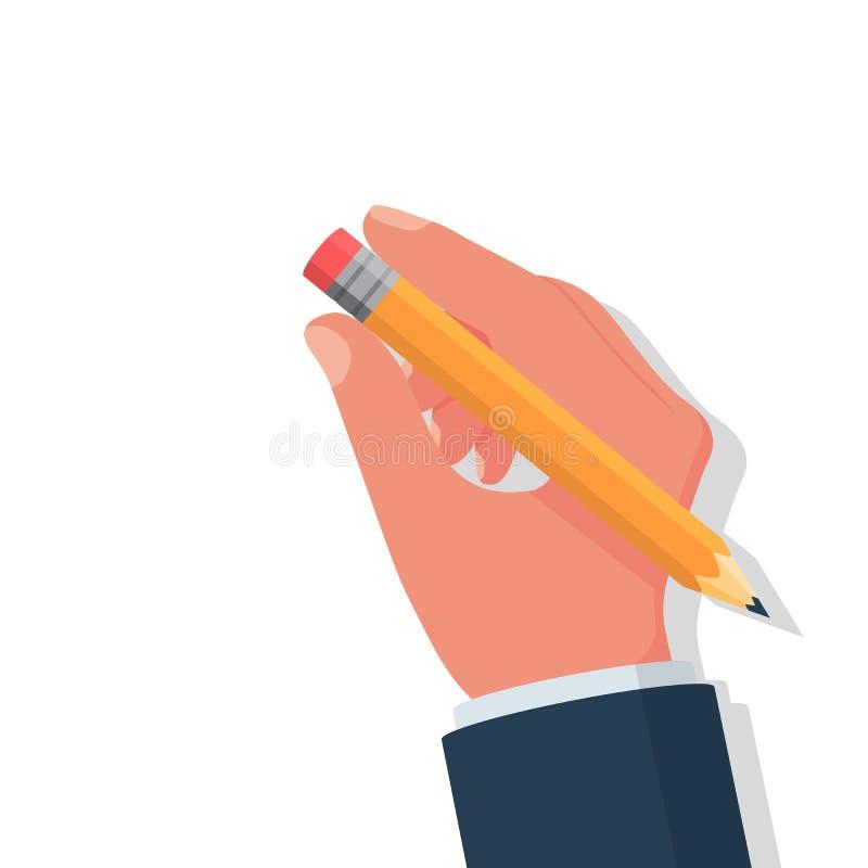 De holding van de potloodgom ter beschikking Vectorillustratie vlak ontwerp royalty-vrije illustratie