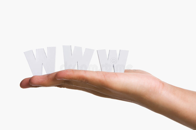 De holding WWW van de hand royalty-vrije stock foto
