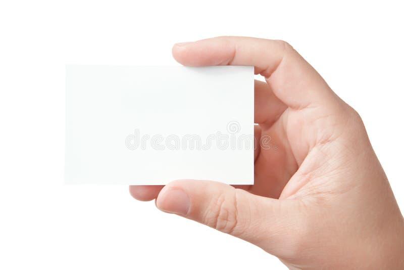 De holdings leeg adreskaartje van de hand stock foto