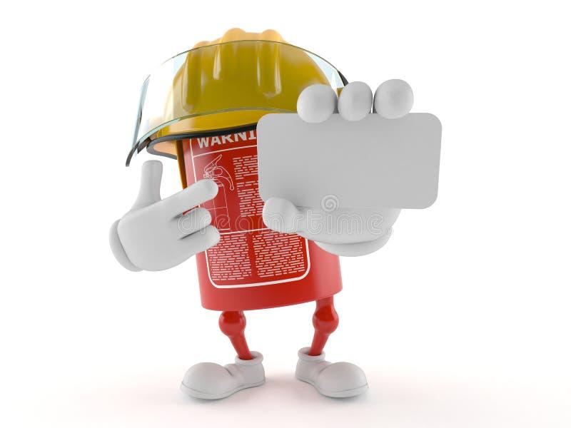 De holdings leeg adreskaartje van het brandblusapparaatkarakter royalty-vrije illustratie